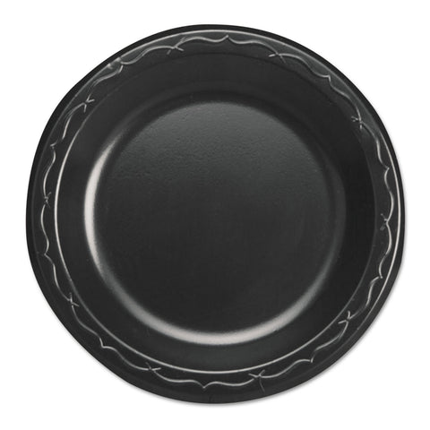 "Genpak Elite Laminated Foam Dinnerware, Plate, 6"" Dia, Black,125/Pack, 8 Pack/Carton - Black"