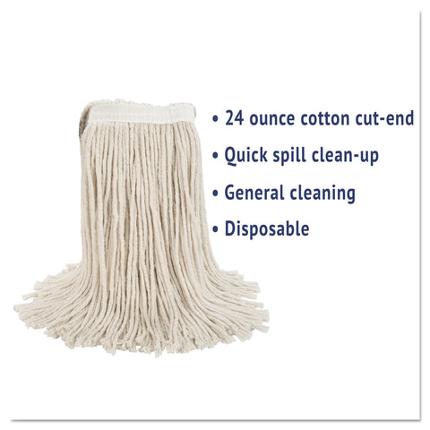 Boardwalk Premium Cut-End Wet Mop Heads, Cotton, 24oz, White, 12/Carton - White / 24 oz