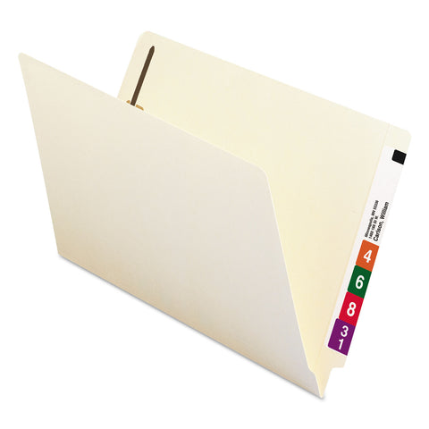 "Smead Manila End Tab 2-Fastener Folders with Reinforced Tabs, 0.75"" Expansion, Straight Tab, Legal Size, 11 pt. Manila, 50/Box - Manila / Legal"
