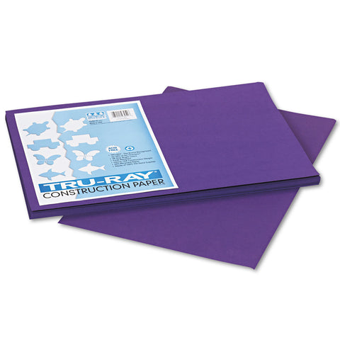 Pacon Tru-Ray Construction Paper, 76lb, 12 x 18, Purple, 50/Pack