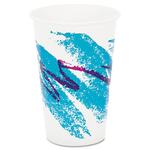 Jazz Waxed Paper Cold Cups, 16oz, Tide Design, 1000/Carton
