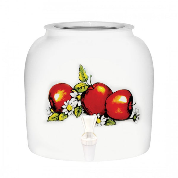 2.5 Gallon Porcelain Water Crock Dispenser With Crock Protector Ring and Faucet - Red Apples