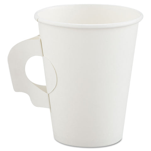 Dart Polycoated Hot Paper Cups with Handles, 8 oz, White - White