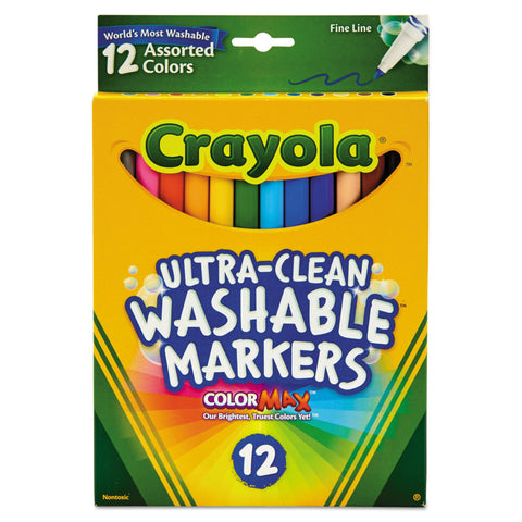 Crayola Ultra-Clean Washable Markers, Fine Bullet Tip, Assorted Colors, Dozen