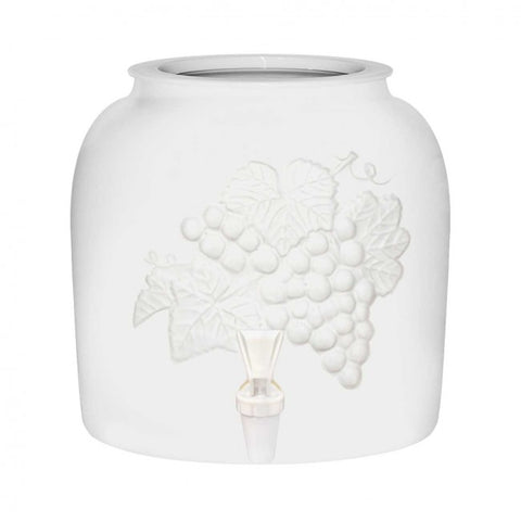 2.5 Gallon Porcelain Water Crock Dispenser With Crock Protector Ring and Faucet - Embossed Grape