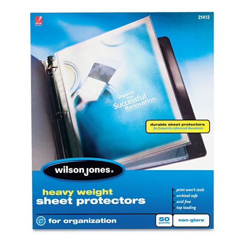 Wilson Jones Heavyweight Top-Loading Sheet Protectors, Nonglare Finish, Letter, 50/Box