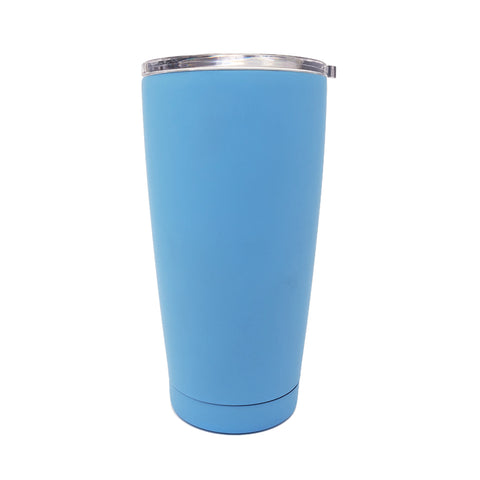 20 oz Double Wall 18/8 Pro-Grade Stainless Vacuum Sealed Tumbler with Clear Leak-Proof Lid with Mouth Opening  | Great For Alkaline Water Storage - Light Blue