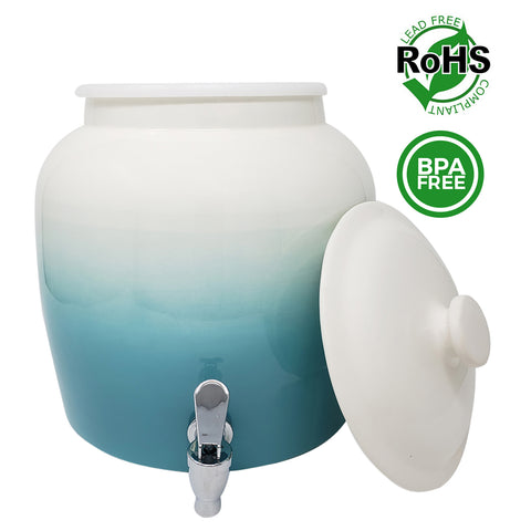 Premium Lead-Free Porcelain Beverage Dispenser With Matching Lid - 2.5 Gallons - Comes with Crock Ring Protector, No-Drip Chrome Painted BPA-Free Plastic Spigot Faucet and Lid - Gradient Baby Blue