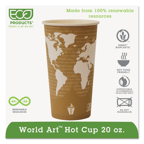 Eco-Products World Art Renewable Compostable Hot Cups, 20 oz., 50/PK, 20 PK/CT