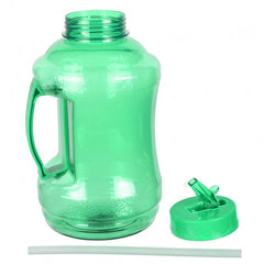Water Bottle with Drinking Straw - Green