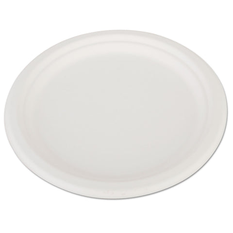 "SCT ChampWare Heavyweight Bagasse Dinnerware, Plate, 10"", White, 500/Carton"