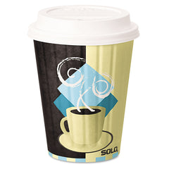 Dart Duo Shield Insulated Paper Hot Cups, 12oz, Tuscan, Chocolate/Blue/Beige, 600/Ct - Chocolate/Blue/Beige