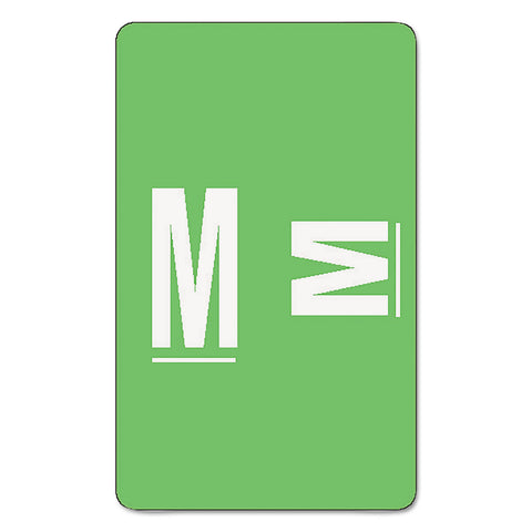 Smead Alpha-Z Color-Coded Second Letter Alphabetical Labels, M, 1 x 1.63, Light Green, 10/Sheet, 10 Sheets/Pack