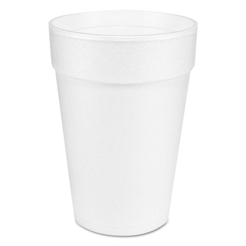 Large Foam Drink Cup, 14 oz, Hot/Cold, White, 25/Bag, 40 Bags/Carton