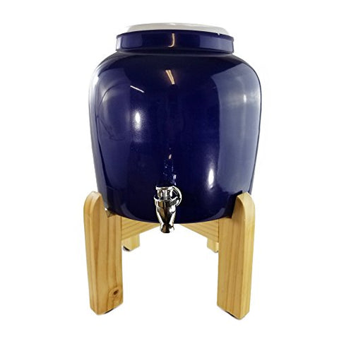 "Premium Solid Blue Porcelain Water Crock Dispenser & Wood Counter Stand Set - Blue / 8"" Natural Stand"