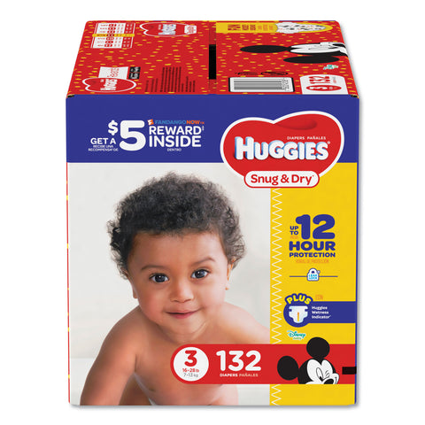 Huggies Snug and Dry Diapers, Size 3, 16 lbs to 28 lbs, 132/Pack