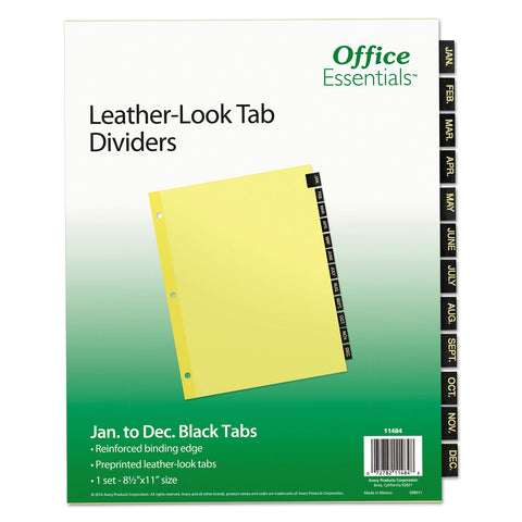 Office Essentials Preprinted Black Leather Tab Dividers, 12-Tab, Letter