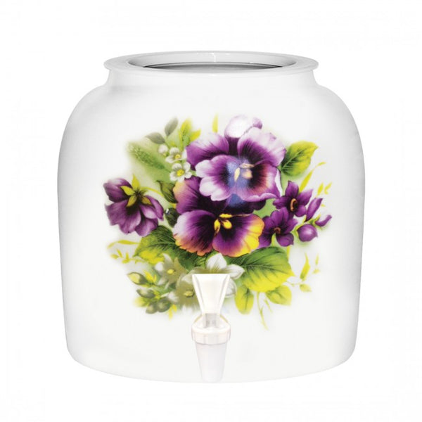 2.5 Gallon Porcelain Water Crock Dispenser With Crock Protector Ring and Faucet - Purple Pansies