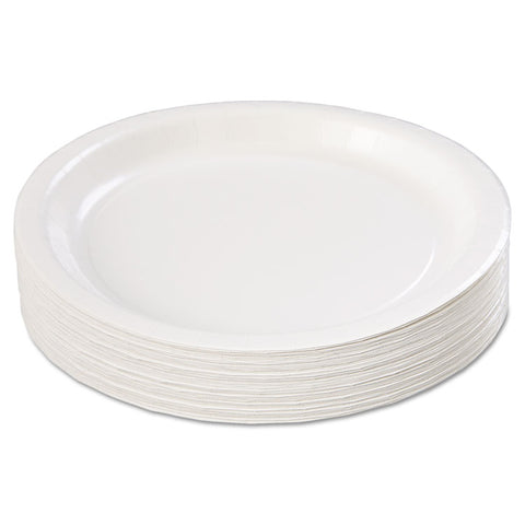 "Coated Paper Dinnerware, Plate, 9"", White, 50/Pack, 10 Packs/Carton"