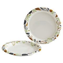"Boardwalk Deerfield Printed Paper Plates, 9"" Dia,Coated/Soak Proof 125 Plates/Pk, 8 Pks/Ct - White/Yellow/Green/Purple"