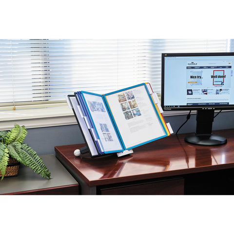 Durable SHERPA Desk Reference System, 10 Panels, 10 x 5 5/8 x 13 7/8, Assorted Borders - Gray / Letter