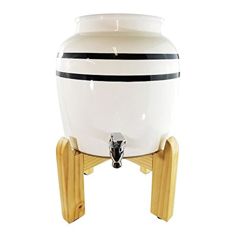 Premium Black Stripe Porcelain Water Crock Dispenser & Wood Counter Stand Set