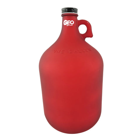 1 Gallon Glass Bottle with Ring Holder - Frost Red - Red / 1 Gallon / Glass