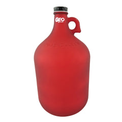 Glass Bottle with Ring Holder - Frost Red