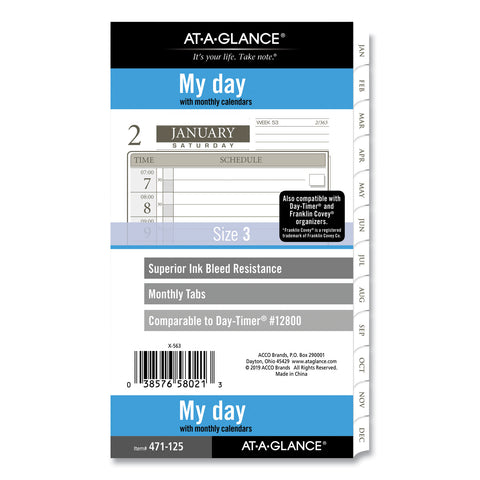 AT-A-GLANCE 1-Page-Per-Day Planner Refills, 6.75 x 3.75, White, 2021