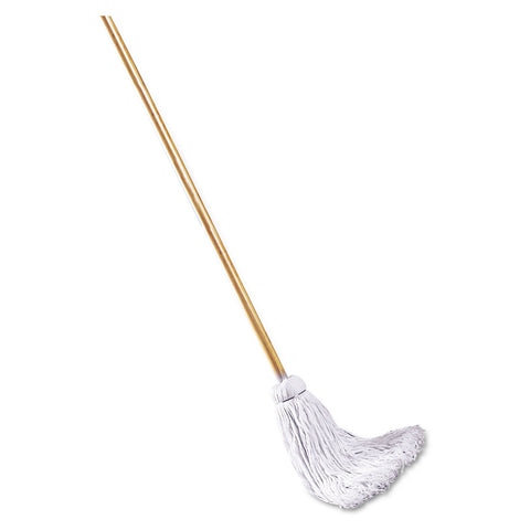 "Boardwalk Deck Mop, 48"" Wooden Handle, 16oz Cotton Fiber Head - White / 16 oz"