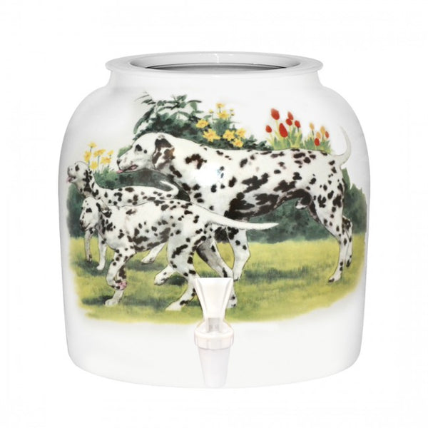 2.5 Gallon Porcelain Water Crock Dispenser With Crock Protector Ring and Faucet - Dalmatians