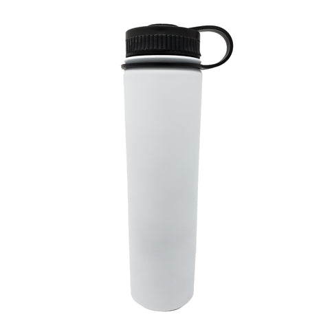 25 oz Double Wall 18/8 Pro-Grade Stainless Vacuum Sealed Big Mouth Water Bottle with Leak-Proof Black Stay-On Cap  | Great For Alkaline Water Storage - White