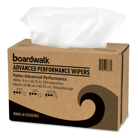 Boardwalk Advanced Performance Wipers, White, 9x16 3/4, 10 Pack Dispensers of 100, 1000/Ct - White