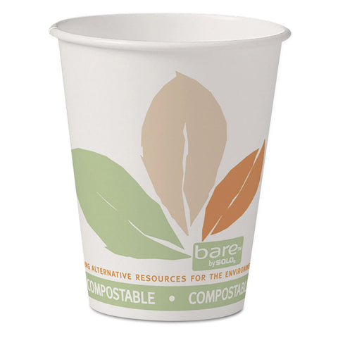 Bare by Solo Eco-Forward PLA Paper Hot Cups, 8 oz, Leaf Design, 50/Pack
