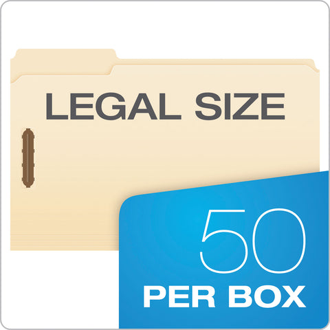 Pendaflex Manila Folders with Two Fasteners, 1/3-Cut Tabs, Legal Size, 50/Box - Manila / Legal