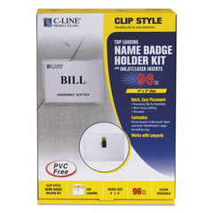 C-Line Name Badge Kits, Top Load, 4 x 3, Clear, Clip Style, 96/Box