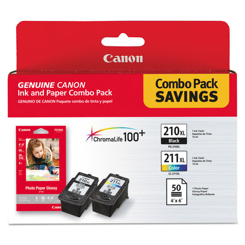 Canon 2973B004 (PGI-210XL/CL-211XL) High-Yield Ink/Paper Combo, Black/Tri-Color