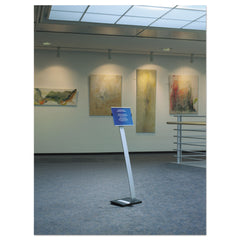 Durable Info Sign Duo Floor Stand, Letter-Size Inserts, 15 x 46 1/2, Clear