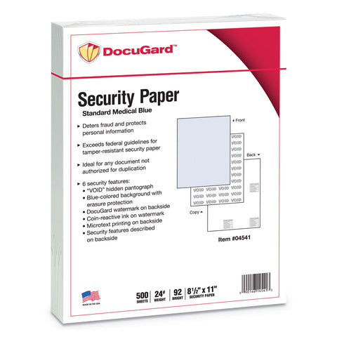 DocuGard Medical Security Papers, 24lb, 8.5 x 11, Blue, 500/Ream