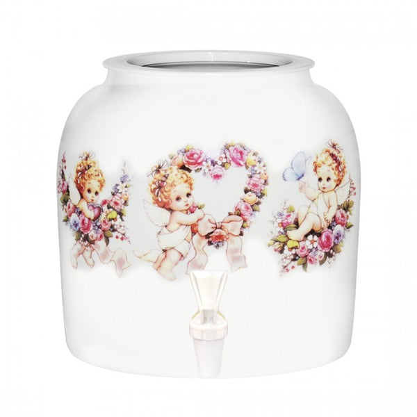 2.5 Gallon Porcelain Water Crock Dispenser With Crock Protector Ring and Faucet - Floral Angels