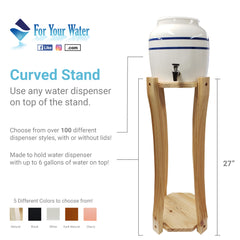 Curved Hard Wood Painted Water Crock Dispenser Floor Stand - White - 28 Inches / White / Wood