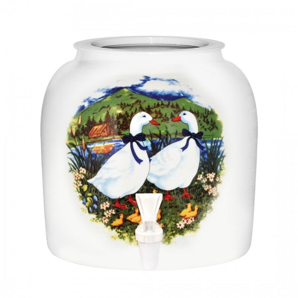 2.5 Gallon Porcelain Water Crock Dispenser With Crock Protector Ring and Faucet - Family Ducks