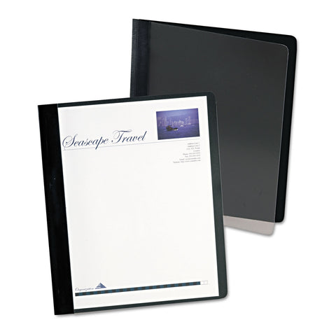 Oxford Extra-Wide Clear Front Report Covers, Letter Size, Black, 25/Box - Clear / 8 1/2 x 11