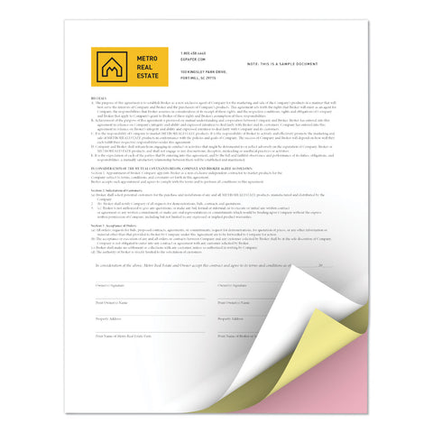 xerox Revolution Carbonless 3-Part Paper, 8.5 x 11, White/Canary/Pink, 5, 000/Carton
