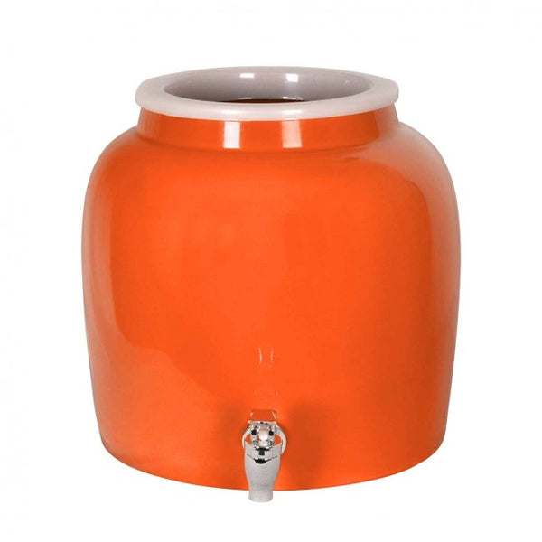 2.5 Gallon Porcelain Water Crock Dispenser With Crock Protector Ring and Faucet - Solid Orange