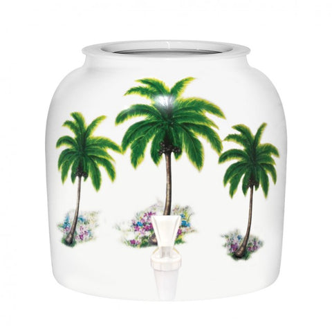 2.5 Gallon Porcelain Water Crock Dispenser With Crock Protector Ring and Faucet - Palm Tree