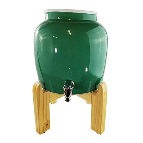 "Premium Solid Green Porcelain Water Crock Dispenser & Wood Counter Stand Set - Green / 8"" Natural Stand"