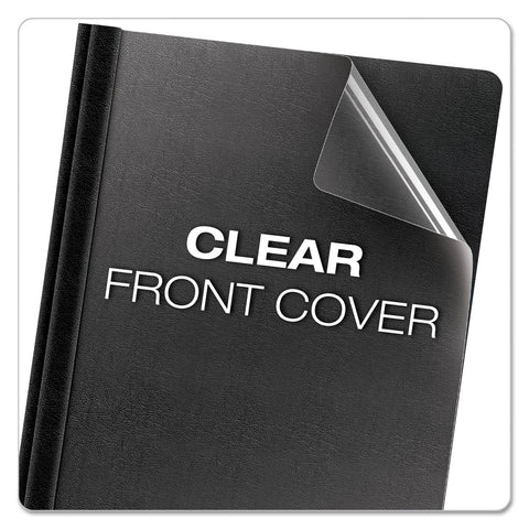 Oxford Premium Paper Clear Front Cover, 3 Fasteners, Letter, Black, 25/Box - Clear / 8 1/2 x 11