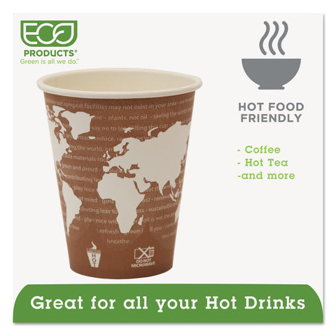Eco-Products World Art Renewable Compostable Hot Cups, 8 oz., 50/PK, 20 PK/CT