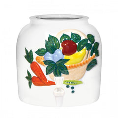 2.5 Gallon Porcelain Water Crock Dispenser With Crock Protector Ring and Faucet - Embossed Vegetable Basket